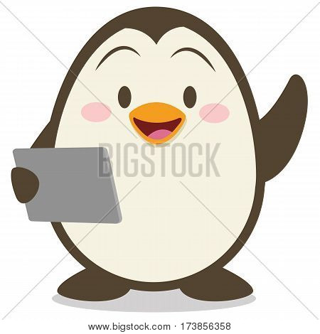 Penguin with tablet vector illustration collection stock