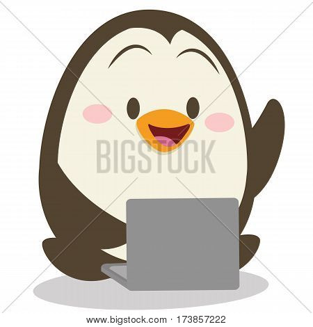 Character penguin with laptop vector collection stock