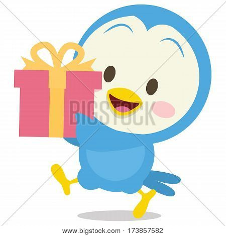 Dove with gift character stock vector illustration