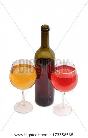 Glass and bottle wine on white background