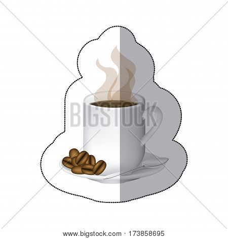 coffee cuppa with steam and coffee grains in the plate, vector illustraction