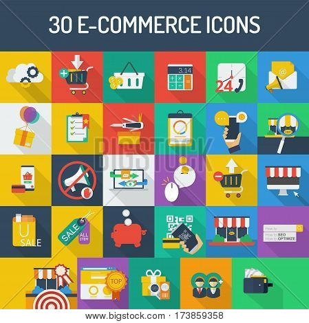 E-Commerce Icon Set | Set of great flat icons with style filloutlines icon and use for electronics, ecommerce, marketing and much more.