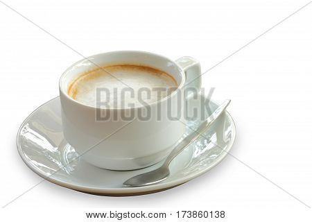 Fresh of hot coffee isolated in white cup over white background clipping path.