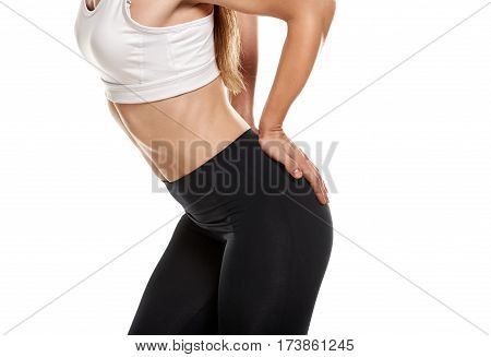 Close up photo of fit muscular body of healthy sportswoman