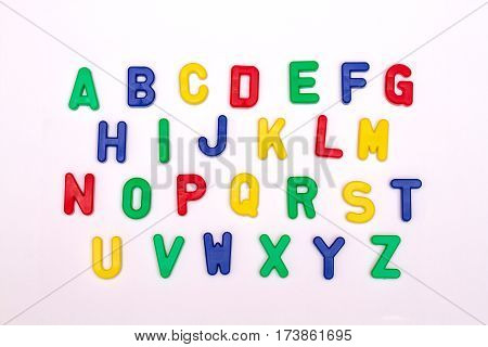 Detailed Plastic Letters On A Pure White Background