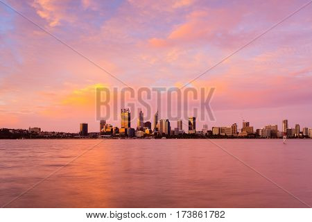 Perth city skyline during a stunning sunset from South Perth over the Swan River, Western Australia, Australia. 29th January, 2017.
