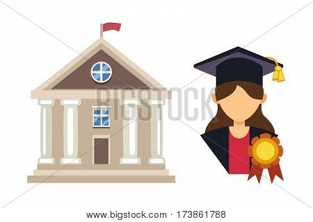 Graduation woman silhouette uniform avatar vector illustration. Student education college success character. School icon and university building vector illustration