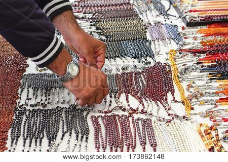 many color prayer beads at market for sale