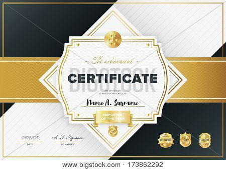 Certificate vector vector photo free trial bigstock certificate vector template or diploma design graduation achievement certificate success layout golden altavistaventures Image collections