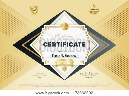 Certificate vector template or diploma design. Graduation, achievement certificate, success layout. Golden certificate design. Modern certificate border or diploma with abstract text. Diploma template vector layout.