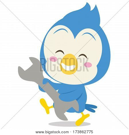 Blue Jay with tool character vector illustration