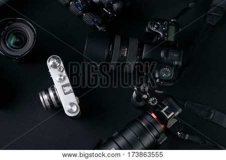 Photography concept with set of dslr camera and lense .