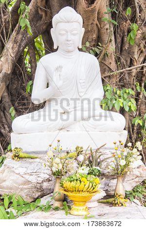 Thai white buddha statue , art religion