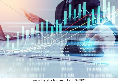 Business Man. Business man using tablet research data for business planning. Business man background. Business working and business people concept. Business Strategy. Business man over sunny and business data background, business content.