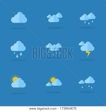 Weather icon set flat vector collection stock