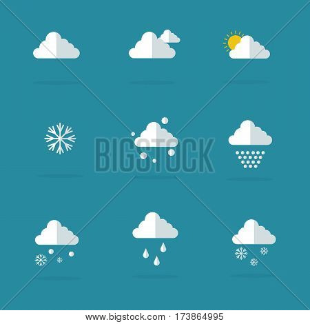 Vector flat of weather set collection stock