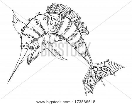 Steampunk style swordfish. Mechanical animal. Coloring book vector illustration.