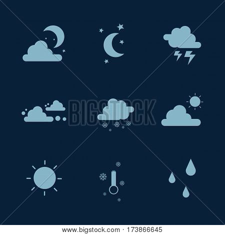 Weather set icon collection stock vector flat