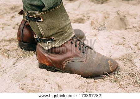 Soldier Boots German Army World War II. Close-up