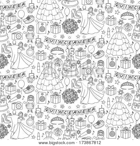 Quinceanera seamless pattern on white background. Wallpaper with girl birthday objects and elements.