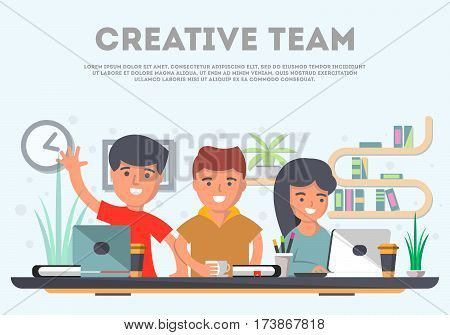 Teamwork of business people in office space vector. Business workspace, partnership, creative team, group brainstorming. Cartoon teamwork idea generation concept. Teamwork meeting of business project and teamwork business community concept.