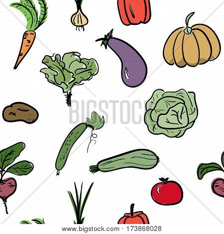 Hand drawn sketch watercolor vegetable seamless pattern. Organic healthy food vector illustration