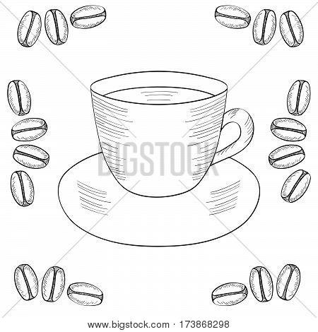 Coffee cup coffee bean seed. Natural organic caffeine. Green coffee luwak. Hand drawn sketch illustration coffe.
