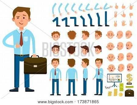 Businessman character creation set isolated vector illustration. Male person constructor with various gesture, emotion on face, hand, leg, pose, hairstyle. Front, side, back view animated businessman. Businessman front view. Flat businessman illustration.