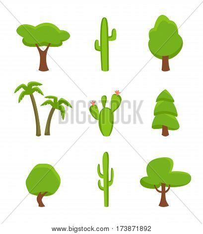 Green plant set isolated on white background vector illustration. Desert cactus, tropical palm, forest tree and spruce in flat design. Green plant elements collection for botany landscaping.