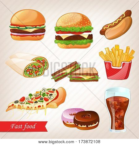 Fast food icon set isolated vector illustration. Taco, cola, hot dog, french fries, chicken, sandwich and other fast food icon. Cafe or restaurant fast food menu icon. Fast food icon collection. Vector fast food icon with pizza and burger.