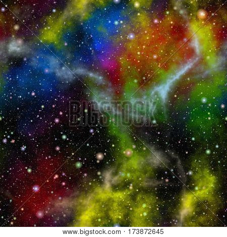 Abstract colorful universe, Nebula shiny night starry sky, Multicolor outer space, Rainbow colored galactic texture background, Seamless illustration