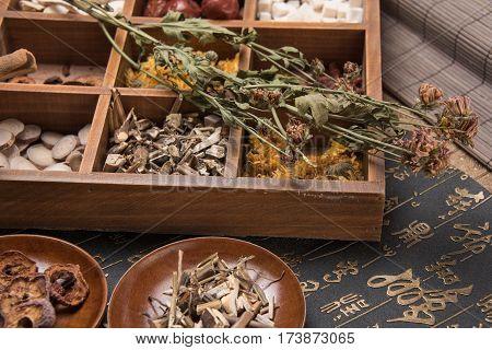 Chinese Herbal Medicine, detail shot image .