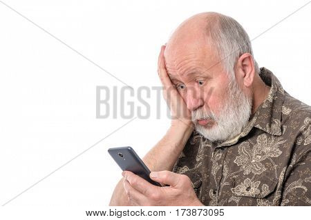 Portrait of senior man with mobile smartphone, isolated on white background