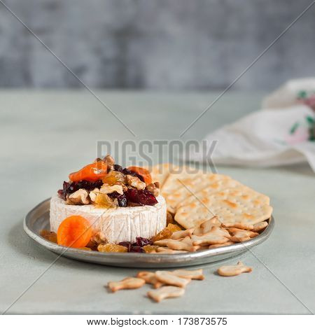 Dried Fruit, Walnut And Honey Baked Brie
