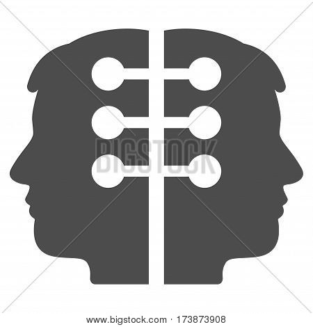 Dual Head Interface vector icon. Flat gray symbol. Pictogram is isolated on a white background. Designed for web and software interfaces.