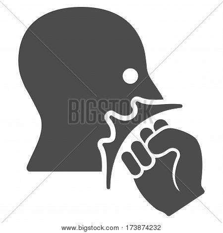 Face Violence Strike vector icon. Flat gray symbol. Pictogram is isolated on a white background. Designed for web and software interfaces.