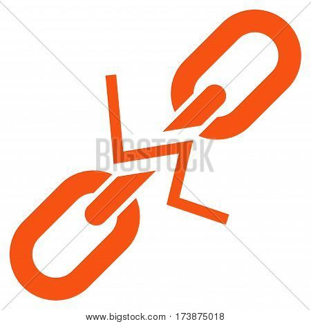 Broken Chain Link vector icon. Flat orange symbol. Pictogram is isolated on a white background. Designed for web and software interfaces.