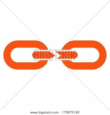 Chain Break vector icon. Flat orange symbol. Pictogram is isolated on a white background. Designed for web and software interfaces.