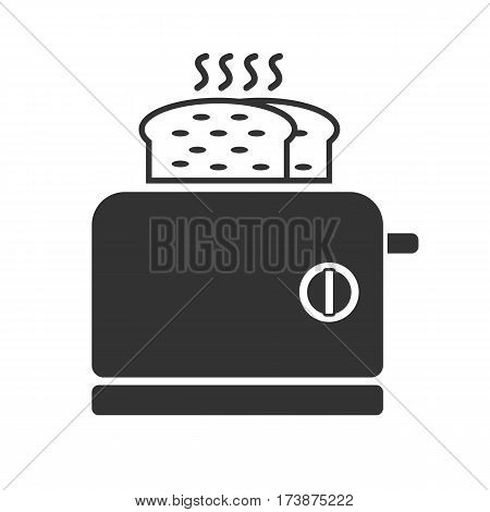 A gray toaster icon. This illustration shows a flat icon for web.