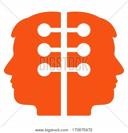 Dual Head Interface vector icon. Flat orange symbol. Pictogram is isolated on a white background. Designed for web and software interfaces.