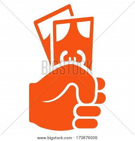 Euro Banknotes Salary vector icon. Flat orange symbol. Pictogram is isolated on a white background. Designed for web and software interfaces.