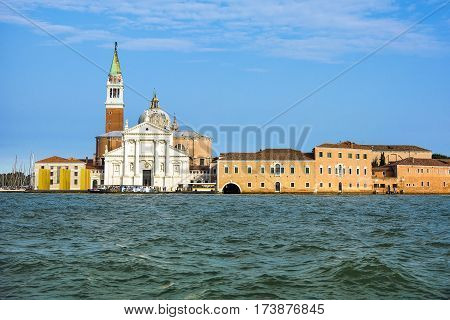 VENICE ITALY - SEPTEMBER 09 2014: The installation The Sky Over Nine Columns of sculptor Heinz Mack in San Giorgio Maggiore Venice Italy September 09 2014