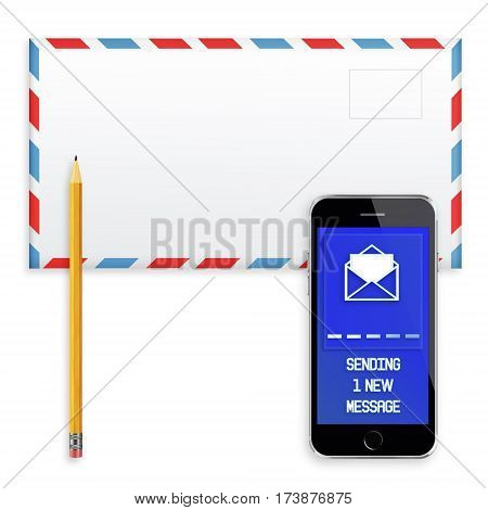 Post envelope, yellow pencil and mobile smart phone with screen showing inscription of sending one new messageon isolated on white background. 3D illustration.