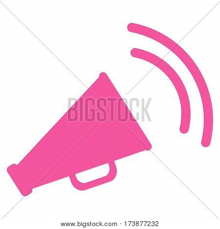 Announce Horn vector icon. Flat pink symbol. Pictogram is isolated on a white background. Designed for web and software interfaces.
