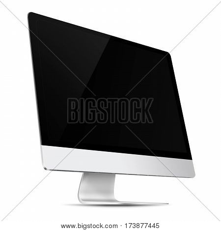 Modern flat screen computer monitor with empty screen isolated on white background. 3D illustration.