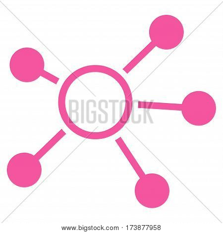 Connections vector icon. Flat pink symbol. Pictogram is isolated on a white background. Designed for web and software interfaces.