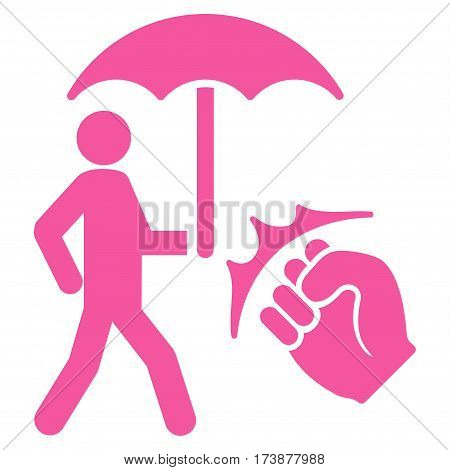 Crime Coverage vector icon. Flat pink symbol. Pictogram is isolated on a white background. Designed for web and software interfaces.