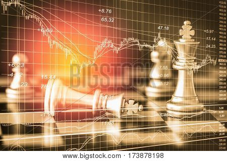 Business Game On Digital Stock Market Financial And Chess Background. Digital Business And Stock Mar