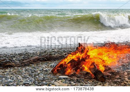 A Large Fire On The Beach.