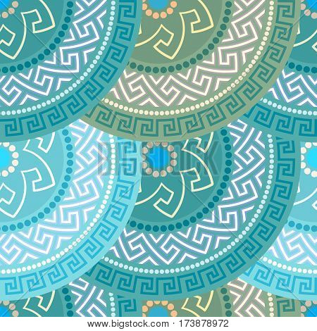 Traditional seamless vintage circle shaped ornate elements with Greek ornament Meander in blue and green colors. Can be used for wrapping paper, fabric, ceramic. Vector illustration